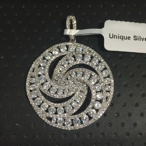 Silver Shiny Swirl Design Pendant With Cz Stones